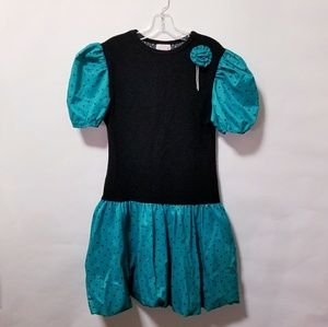 Vintage 80's black green prom party poof dress